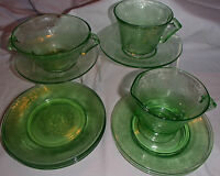 GREEN DEPRESSION GLASS (11)  3 FEDERAL LOVE BIRDS 8 FLORENTINE POPPY HAZEL ATLAS