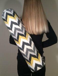 New Yoga or Pilates Mat Bag, Chevron Zig Zag in Black, White, Gray and Yellow