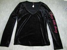 NWOT $58 Victoria Secret Sexy Little Thing Black Velvet Bling shirt- Sz M-Model