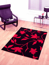LARGE THICK MODERN BLACK BRIGHT RED FLORAL RUG 120x160c
