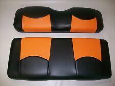 "Club Car Ds '00 & Up Golf Cart Deluxeâ""¢ Seat Covers-Front & Rear(Blk/Orange Btm)"