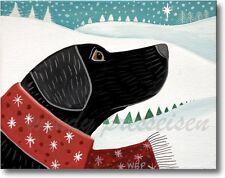 SNOWY SCARF DOG LANDSCAPE - Folk Art Print - Artist sgd Wendy Presseisen