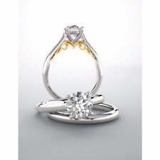 Round Diamond Solitaire 14kt Two Tone Engagement Ring 0.29pts H Color VVS1