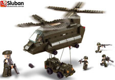 Sluban Military Army Transport Helicopter Toy Jeep Soldier Building Bricks B6600