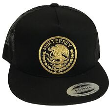 MONTERREY  MEXICO BASEBALL HAT BLACK  MESH TRUCKER LOGO FEDERAL SNAP BACK