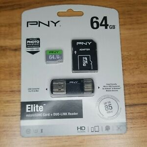 New! PNY 64GB microSD Card Elite (85MB/s) with Duo-Link Reader Android Devices