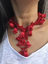 Christmas day red turkish oya necklace handmade jewelry gift otantic accessory