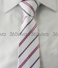 White Purple Hot Pink Stripes Skinny Slim Narrow Woven Silk 6.5 cm Wedding Tie