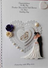 Personalised handmade Wedding day card grand son daughter brother sister niece