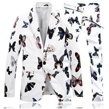 Mens Two pieces of Korean slim suit Jackets Pants butterfly print Wedding Party