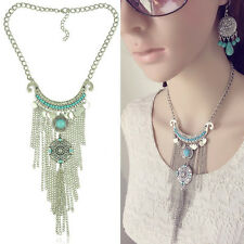 Women Jewelry Crystal Turquoise Tassel Chain Choker Chunky Bib Pendant Necklace
