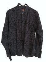 Ike Behar Men's Black Paisley Floral Pin Stripe Button Front Dress Shirt Large L