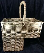 Large Vintage Wicker Stair Step Basket With Handle Excellent- Sturdy!