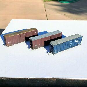 LOT of THREE Custom Weathered High Cube Box Cars BNSF and Columbia & Cowlitz