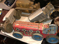 4 Vintage Marx Tin Wind Up Tractor Parts Restore Lot Nice Projects! Bulldozer