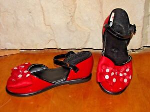 DISNEY STORE MINNIE MOUSE RED POLKA DOT DRESSY DRESS UP SHOES SIZE 9/10