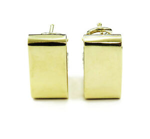 14k Yellow Gold Unique Square Shaped Huggie Hoop Earrings ~ 6.7g
