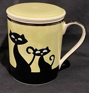 HUESNBREWS Cat Coffee/Tea Mug With Lid And Infuser  Black Siamese Cats - Green