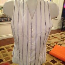 Ralph Lauren Women's White Pinstripe V-Neck Side Pockets Vest Top M