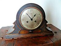 Antique 1920's Art Deco Zig-Zagged Shaped Oak Mantel Clock -Chime Key Pendulum
