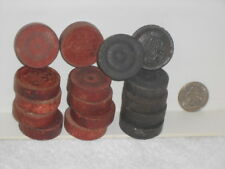 Lot of Vtg. Wooden Crown Patterned Checkers Game Pieces