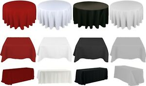 ROUND RECTANGLE SQUARE TABLECLOTH WEDDING PARTY WHITE BLACK SILVER CHRISTMAS RED