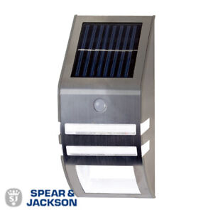 Spear & Jackson PIR Motion Sensor Solar Security Light Stainless Steel - New
