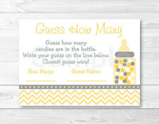 "Yellow Chevron Printable Baby Shower ""Guess How Many?"" Game Cards"