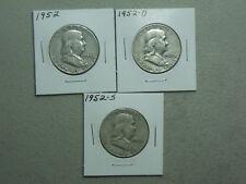 1952 Silver Franklin Half Dollars P-D-S set (3 coins)