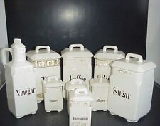 Antique German Spice Canister Set 9 Tea Coffee Sugar