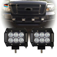 For Ford Truck&Car Pair 18W LED Light Bar USA Front 4inch Flood Beam