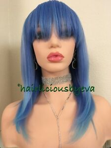 Pastel Straight Bob Wig Blue With Bangs Fringe Heat Resistance Ok 16 Inch Long