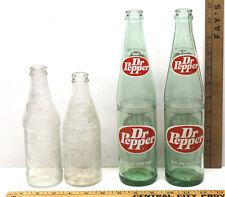 4 Vintage Dr Pepper Soda Bottles 2 Green Glass 16 oz.+ 2 Clear One Way 10 oz.
