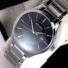 Bulova Mens Stainless Steel Dress Watch Black Dial Date 96B267 New