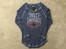 Harley Davidson Lionize Open Neck Navy Blue Thermal Shirt NWT Women's XXL