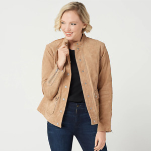 Isaac Mizrahi Live! Suede Utility Jacket with Printed Lining Fawn
