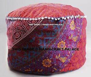 Indian Mandala Ottoman Footstools Round Floor Pillow Cotton Ethnic Pouff Cover
