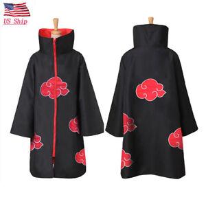 Naruto Akatsuki Uchiha Itachi Robe Cloak Coat Halloween Cosplay Costume