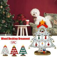 Wood Desktop Ornament With Iron Bells Mini Christmas Tree Home Party Decor