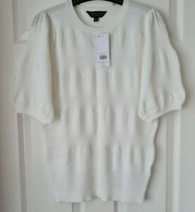 Dorothy Perkins Ivory Short Sleeve Round Neck Jumper/ Top Size 14 Bnwt r.r.p £22