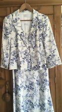 Precis Petite Blue White Linen Toile Dress Jacket Size 14/16