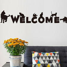 Welcome Cat Wall Stickers Shop Living Room Veterinary Shelter Decoration
