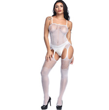 Sexy ladies floral lingerie bodystocking bodysuit crotchless nightwear UK seller