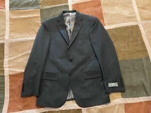 Hart Schaffner Marx grey pinstripe suit jacket blazer sport coat 38 S men NEW