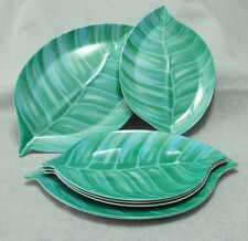 "Set 6 NOS 1999 Melamine Retro Leaf Plates Serving & Appetizer ""Summer Stock"""
