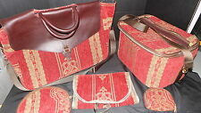 Showline Custom Travel Bags USA Red Gold Tapesty 5 piece set Vintage  Carpet