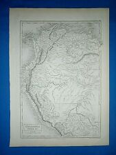 Antique 1847 Atlas Map ~ COLOMBIA - PERU ~ Engraved by S. HALL Old Authentic