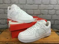 NIKE MENS UK 8 EU 42.5 AIR FORCE 1 REACT WHITE GREY LEATHER TRAINERS T