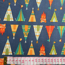 Cotton Quilt fabric Print fabric (Camping Tents)per meter