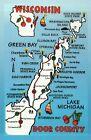 Wisconsin Door County, Green Bay, Lake Michigan, Cherry, WI State Map - Postcard